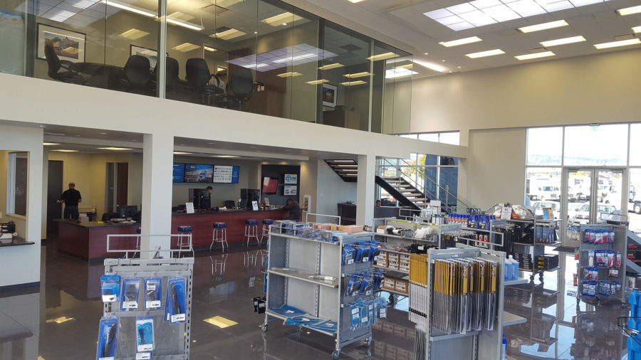 Truck sales parts showroom