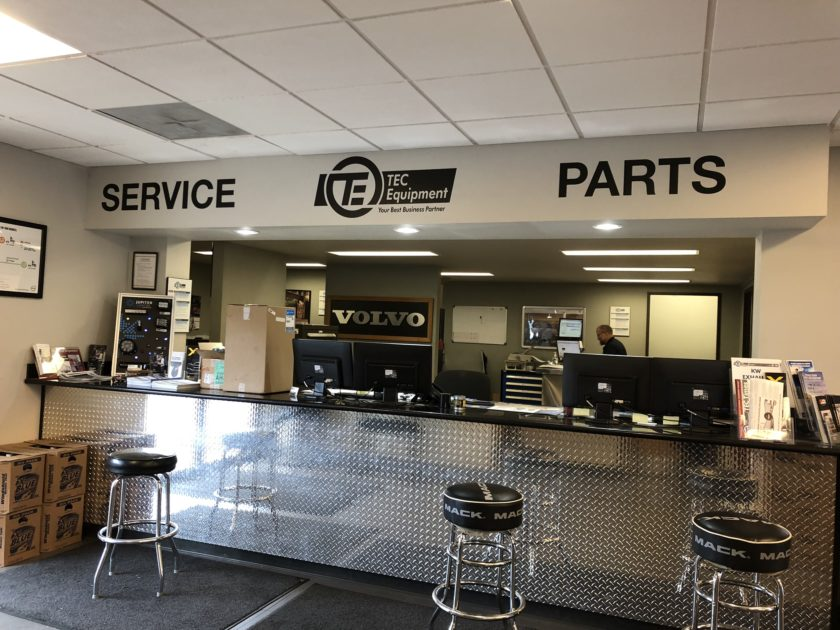 Service and parts counter